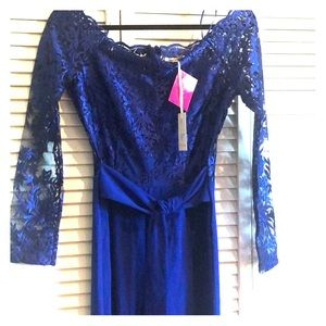 NWT Royal Blue Long Sleeve Lace Jumpsuit